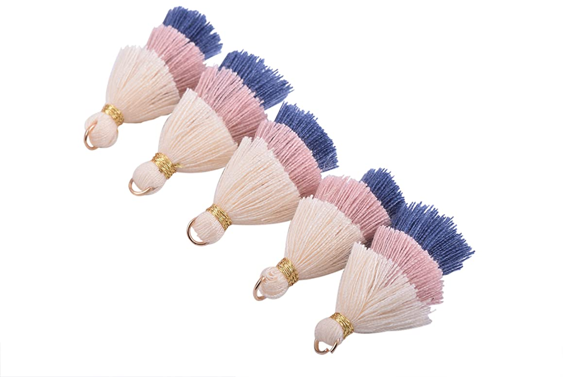 KONMAY 10pcs 1.4''(3.5cm) Tiny Tri-Layered Tassels with Gold Jump Ring for Jewelry Making, Clothing
