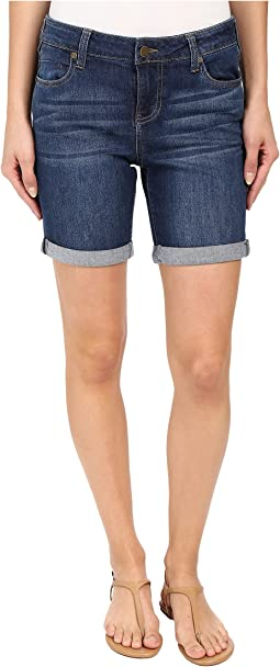 Corine Rolled Denim Shorts in Montauk Mid Blue