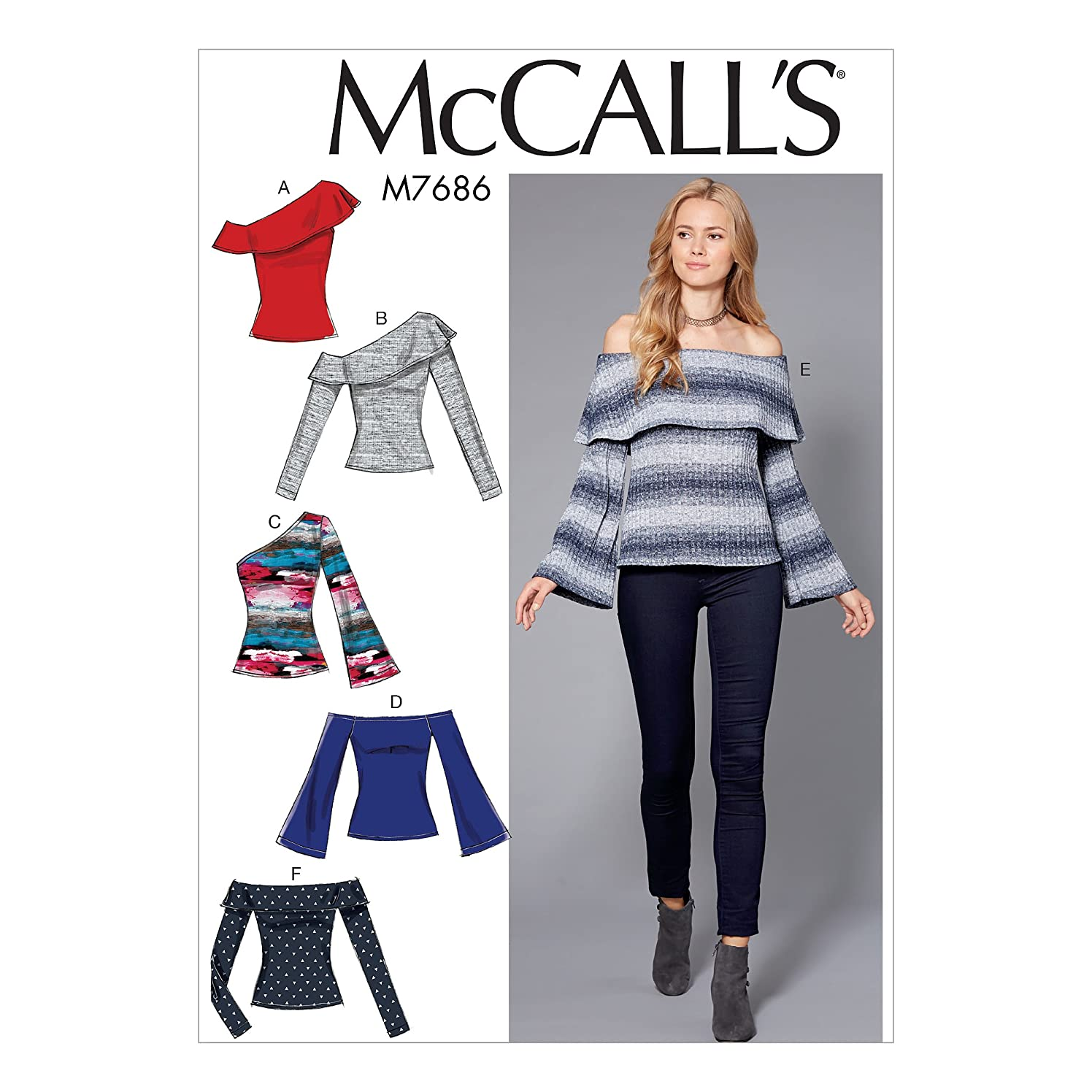 McCall's Patterns M7686E50 Misses' Off-The-Shoulder Knit Tops Sewing Pattern, E5 (14-16-18-20-22)