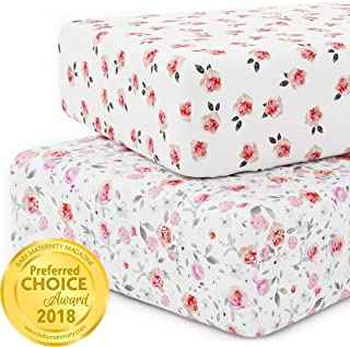Crib Sheet Set for Girls - Universal Fitted Crib Sheets for Standard Baby or Toddler Mattress - 2 Pack - White Nursery Bedding Sheets - Jersey Knit Cotton - Super Soft and Safe for Babies Petal
