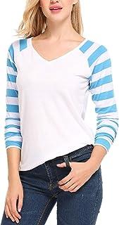 ELESOL Women's Knit Pullover Striped Long Raglan Sleeves V Neck Tee Shirt