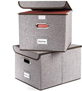 Prandom File Boxes Set of 2 Collapsible Decorative Linen Filing Storage Organizer Hanging File Folders with Lids Office Cabnet Letter Size Important Document Gray