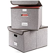 Prandom File Organizer Boxes – Set of 2 Collapsible Decorative Linen Filing Storage..