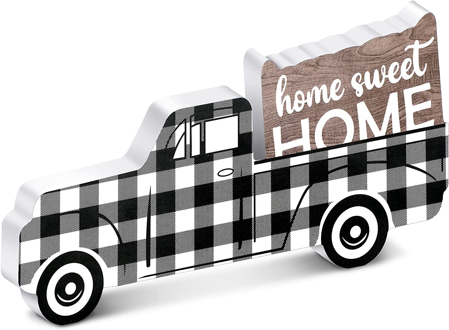 Jetec Wooden Pickup Truck Minneapolis Mall Black Plaid Ornament White It is very popular and