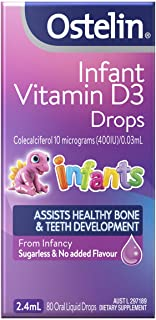 Ostelin Infant Vitamin D3 Drops, Assists Healthy Bone and Teeth development, Supports Muscle Strength, 2.4 Milliliters