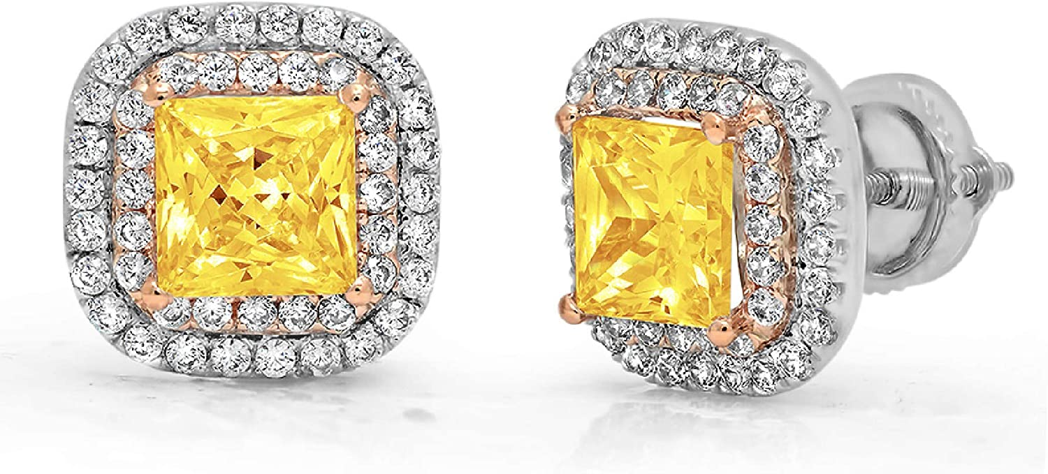 2.52 ct Princess Round Cut ideal VVS1 Conflict Free Gemstone Double Halo Solitaire Canary Yellow CZ Designer Solitaire Stud Screw Back Earrings 14k 2 tone Gold
