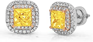 2.52 ct Brilliant Princess Round Cut Double Halo Solitaire Canary Yellow Simulated Diamond CZ VVS1 Ideal Anniversary gift Solitaire Stud Screw Back Earrings Real 14k 2 tone Gold