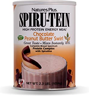 NaturesPlus SPIRU-TEIN Shake - Chocolate Peanut Butter - 2.3 lbs, Spirulina Protein Powder - Plant Based Meal Replacement, Vitamins & Minerals for Energy - Vegetarian, Gluten-Free - 34 Servings