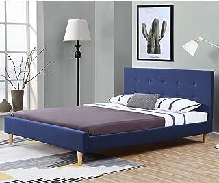 Lit Rembourré Moderne Robuste avec Sommier à Lattes Lit Double Solide Confortable Housse en Lin 200 x 140 cm Bleu
