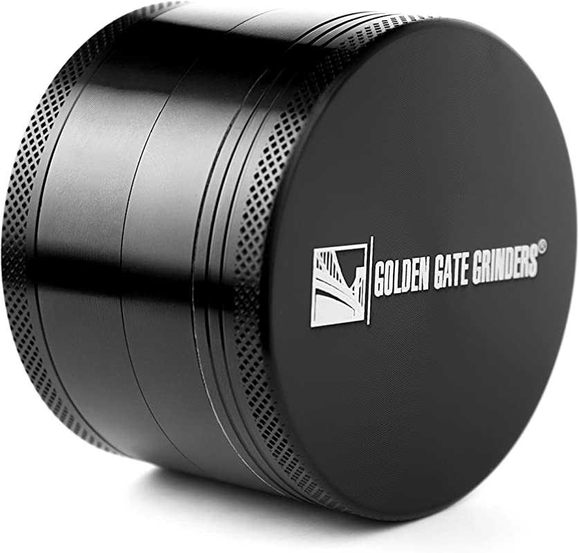 Golden Gate Grinders 1 Best Herb Grinder 2 5 Inch 4 Piece Anodized Aluminum With Pollen Catcher Large Black