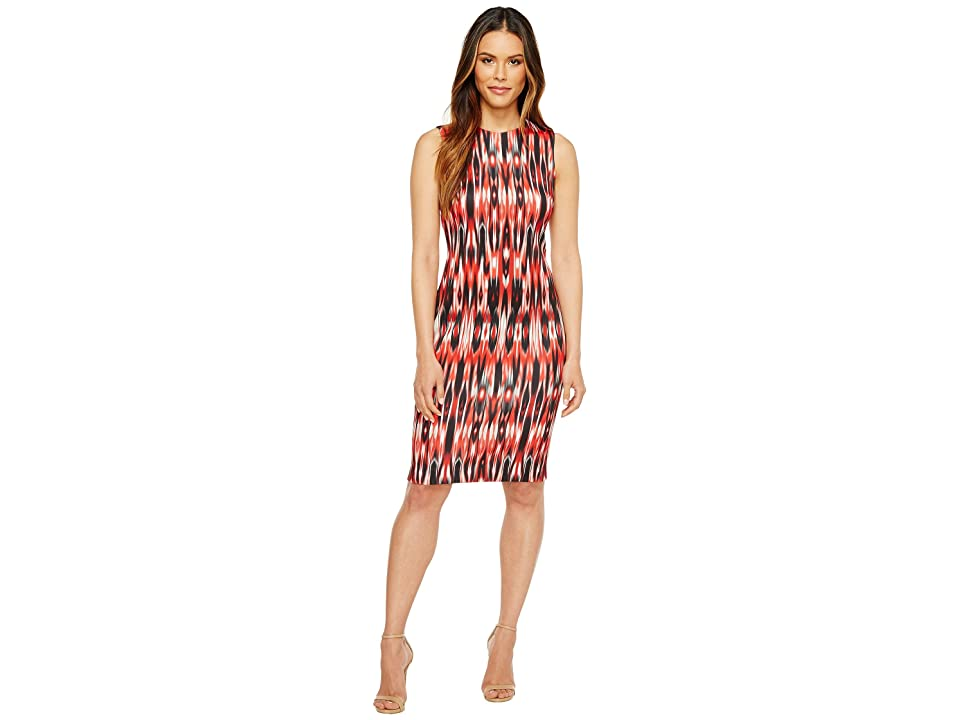 Calvin Klein Printed Scuba Sheath Dress (Fire Multi) Women
