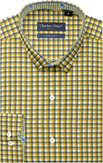 Mens 100% Cotton Slim FIT Gold Color Checkered Shirt