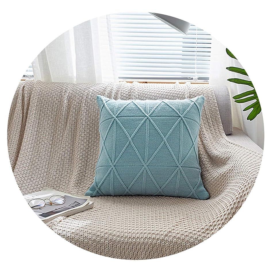 太平洋諸島ホイッスルコートテキスタイルの売れ筋アマゾンは、ライスワード格子ソファクッション枕カバー(コアなし)を願っています,水色,45 * 45cm