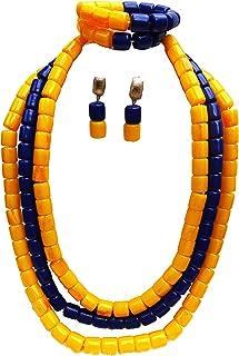allungato rosso corallo African Jewelry Beads Ball set: collana orecchini e braccialetto Brooche