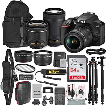 $646 Get Nikon D3500 DSLR Camera with with 18-55mm and 70-300mm Lenses + 64GB Card, Tripod/Monopod, Battery, and Platinum Bundle