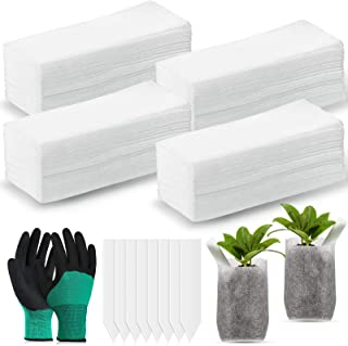 200 Pieces Biodegradable NurseryBags 6.3 x 5.5 Inches Non-Woven Nursery Grow Bags Seed Starter Bags with 50 Pieces Plant ...
