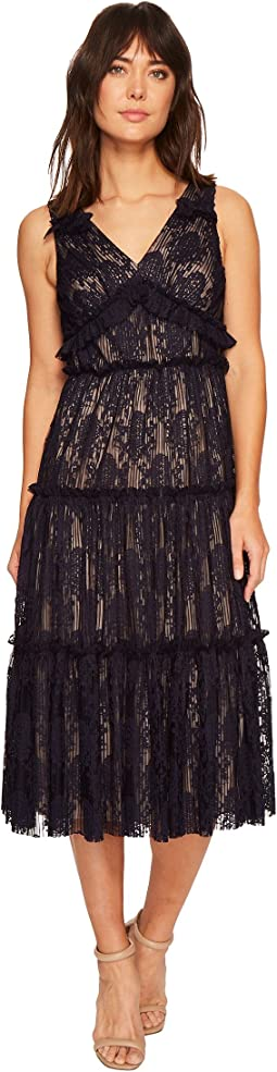 Maggy London - Pleat Medallion Lace Tiered Cocktail Dress