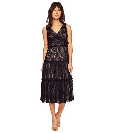 Pleat Medallion Lace Tiered Cocktail Dress, Galaxy Blue