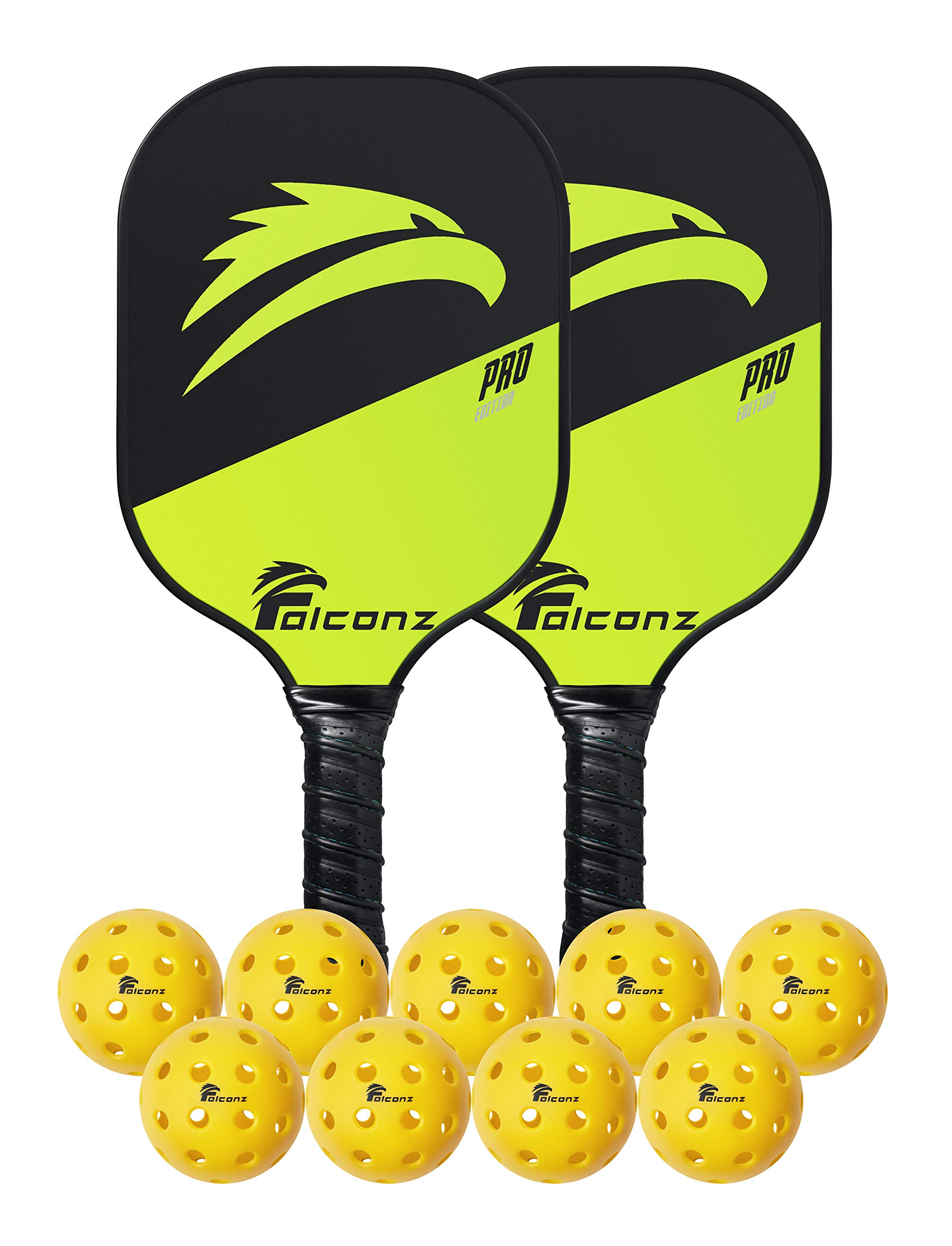 Falconz Pickleball Set - 2 Lightweight Graphite Paddles with