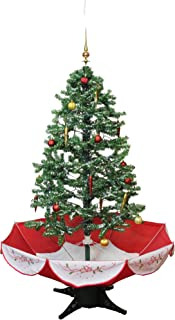 Northlight 4.5' Pre-Lit Medium Musical Snowing Artificial Christmas Tree with Umbrella Base - Blue LED Lights