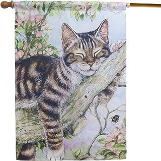 LAYOER Home Garden Yard Flag 28 x 40 Inch House Double Sided Kitten Spring (Cat & Flowers)