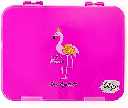 Citron Kids Leak Proof Bento Lunch Box, 6 Compartments, Dark Pink Flamingo