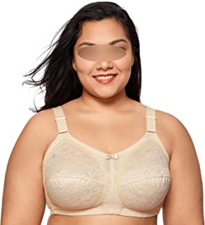 Women's Lace Plus Size Non-Wired Full Cup Unlined Firm Support Bra Molded,Beige02,D,40