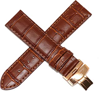 Lucien Piccard 24MM Alligator Grain Genuine Leather Watch Strap 8 inch Pecan Brown with Rose Gold Clasp Fits Pegasus