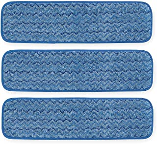 Rubbermaid Commercial FGQ41000BL00 Q410 HYGEN Microfiber Room Mop Pad, Damp, Single-Sided, 18-Inch, Blue (Pack of 3)