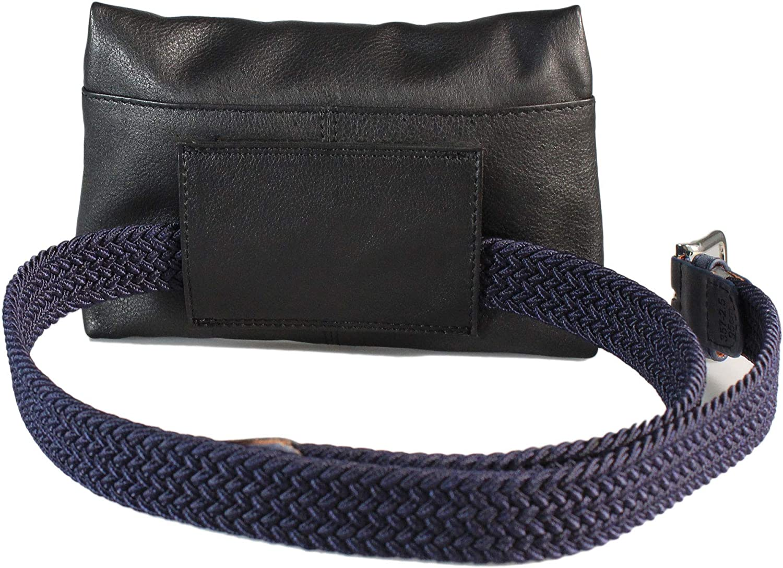 Safekeepers Elastische Gürtel - Stretchgürtel - Schmal - Damen Blau mit Leder Gürteltasche