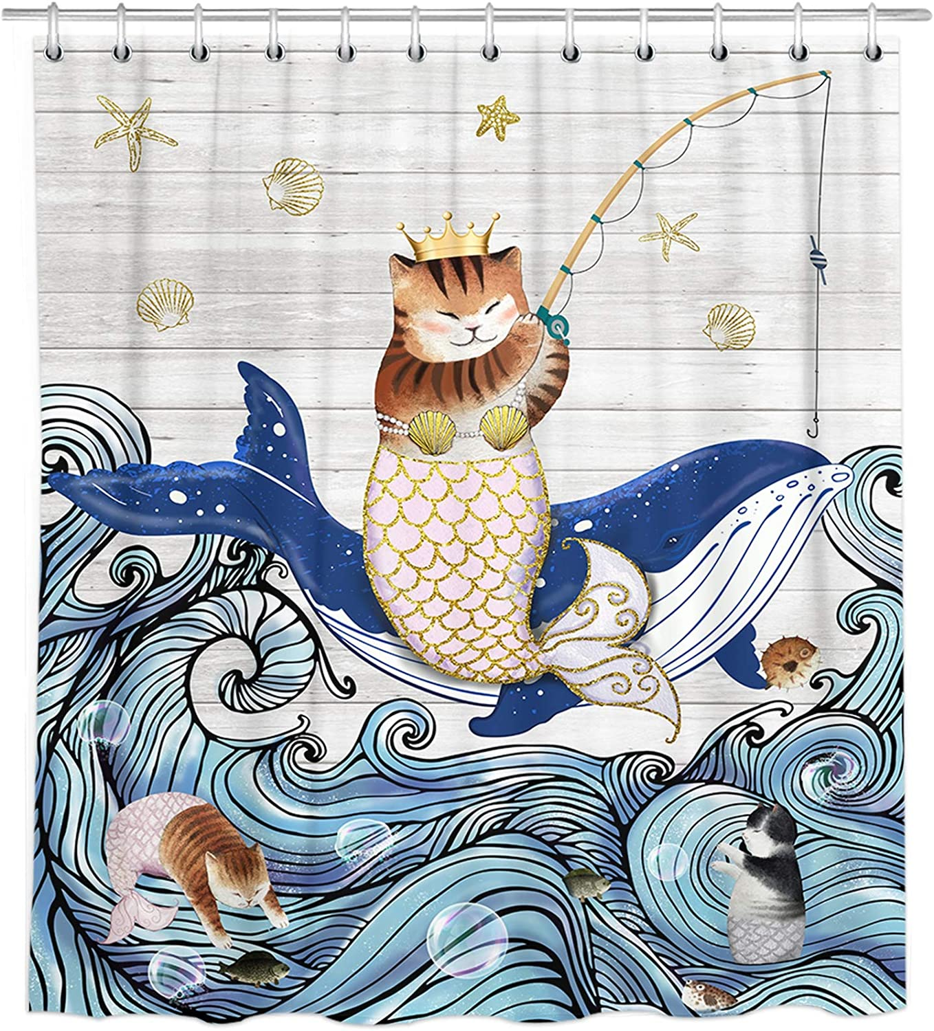 Bonsai Tree Cat Shower Curtains, Funny Cat Riding Whale with Mermaid Tail Cloth Shower Curtain in Bath, Farmhouse Wooden Japanese Wave Bathroom Shower Curtains with 12 Rings, Cute Home Decor 72x72