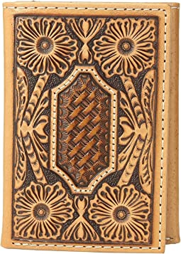 Floral and Basket Weave Embossed Trifold Wallet