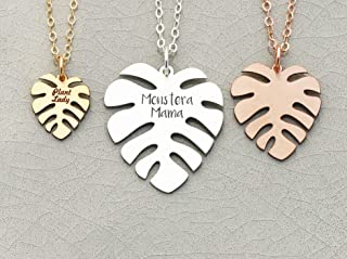 Personalized Monstera Necklace - IBD - Plant Lady Lover Palm Leaf Jewelry - 935 Sterling Silver 14K Rose Gold Filled Charm