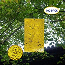 Garsum 100-Pack Dual-Sided Yellow Sticky Traps for Flying Plant Insect Like Fungus Gnats, Aphids, Whiteflies, Leafminers (100 Pack 6X8 Inch)