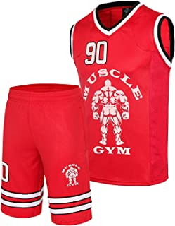 MUSCLE GYM Mens NBA Style Basketball Tank Top and Shorts Set Gym Wear Fitness Tracksuit Red