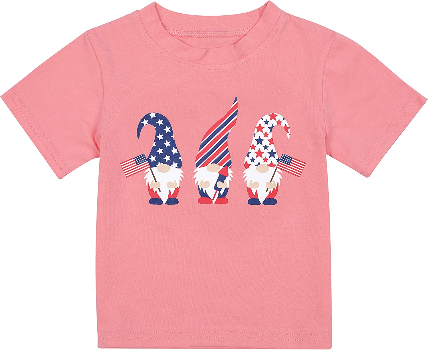 4th of July Toddler Infant Kids T-Shirt Cute Gnomes American Flag Tee Cotton Outfit