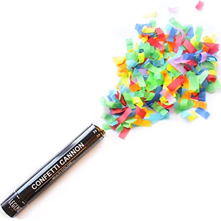 Legend & Co. Confetti Cannons Multicolor (12 inch) | Biodegradable and Air Powdered |Launches up to 25ft | Celebrations, New Year's Eve, Birthdays and Weddings (1 Pack)