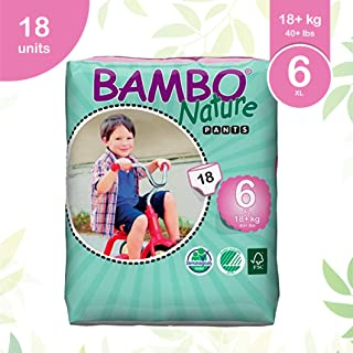Bambo Nature Premium Baby Diapers - Pants Style, Extra Large Size 18 Count - Super Absorbent Toilet Training Pull Ups for Kids upto 3 years