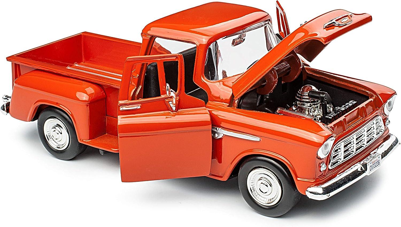 Motormax Chevrolet Chevy 5100 Stepside Pick-Up Orange 1955 1//24 Modell Auto mit individiuellem Wunschkennzeichen