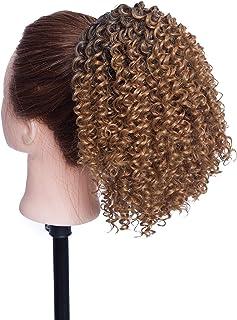 SEGO Moño Postizo [Afro Drawstring Ponytail] Rizado Pelo Sintético Como Pelo Natural [Negro Natural/Castaño Café] Coleta Postiza Corta para Mujer Extensiones de Cabello Clip (130g)
