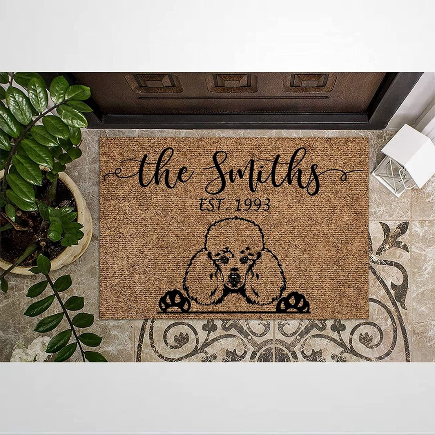 Poodle Personalized Coir Now on sale In a popularity Doormat Rustic for Door Mats Welcome In