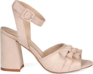 Brinley Co. Womens Baia Ruffle Faux Suede Ankle-Strap Heels