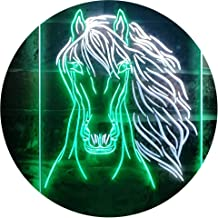 Horse Head Animal Display Dual Color LED Neon Sign White & Green 400 x 600mm st6s46-i3234-wg