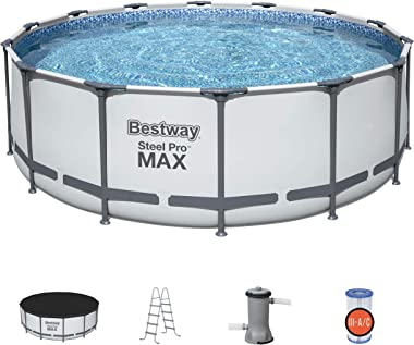 Bestway 5613HE Steel Pro MAX 14 x 4 Foot Outdoor Frame Above Ground Round Swimming Pool Set with Ladder, Cover, and Filter Pu