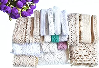 RayLineDo 20 Meters Assorted Vintage Style Cotton Lace Ribbon Trim Bridal Wedding Scalloped Edge Crochet Lace DIY Sewing Accessory Collection A
