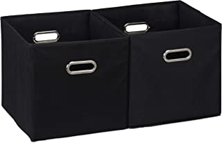 Relaxdays 10025656_46 Lot de 2 boîtes de rangement, sans couvercle, avec poignée, pliable, panier en tissu carré, 30 cm, n...