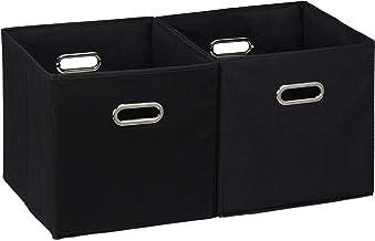 Relaxdays Storage Box Set of 2, No Lids, With Handles, Folding, Square Shelf Bins, 30 cm, Black, polyester, cardboard, 30 ...