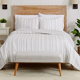 3-Piece Reversible Quilt Set with Shams. All-Season Bedspread with Striped Pattern. Katelyn Collection (Full / Queen, Grey)