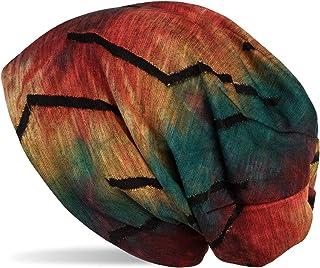styleBREAKER Gorro Beanie Unisex con Motivo Batik en gradiente de Color y desgarros en Forma de Puntas en Apariencia desga...