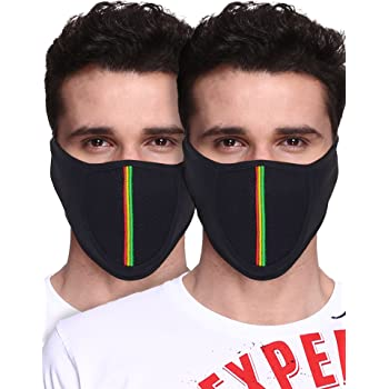 Big Tree® Pro Bike Riding & Cycling Anti Pollution Dust Sun Protecion Half Face Cover Mask (Black)(Pack of 2)
